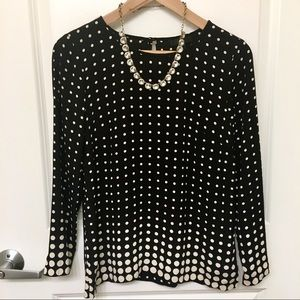 J. Crew Black & Cream Polka Dot 3/4 Sleeve Blouse